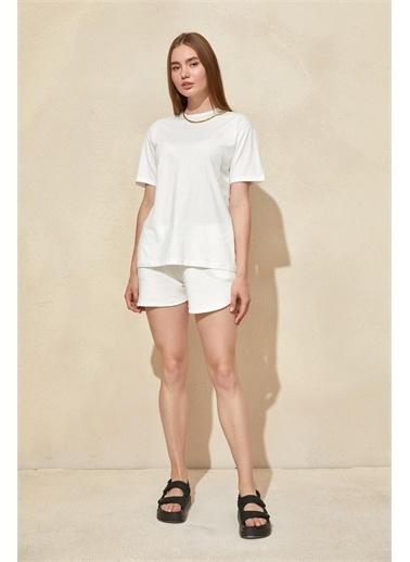 Setre Mor Basic T-Shirt Şort Takım Ekru